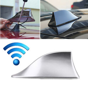 Car Shark Fin Roof Antenna Aerial Cover Am Fm Radio Decorate Fit Bmw Audi Silver