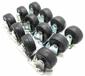 qty 12 2 Rigidstation Caster Wheels Hard Rubber Base With Top Plate