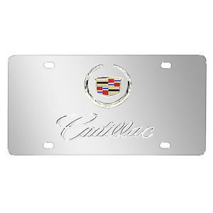 Cadillac Double 3d Logo Chrome Stainless Steel License Plate Made In Usa