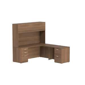 Double Pedestal L Shape Desk With Hutch In Park Walnut Finish