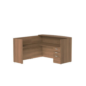 L Shape Single Pedestal Reversible Reception Desk In Park Walnut Finish