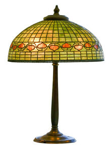 Antique Large Acorn Tiffany Lamp With Bronze Base Works Great