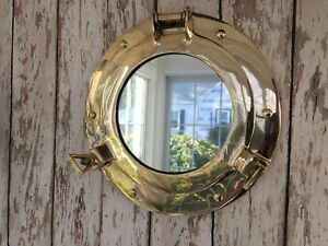 9 Brass Porthole Mirror Nautical Maritime Wall Decor Ship Cabin Window