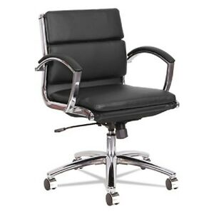 Lot Of 8 Low Back Black Leather Office Chair With Padded Arms