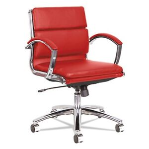Lot Of 12 Low Back Red Leather Office Chair With Padded Arms