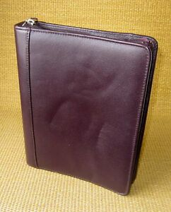 Classic 1 5 Rings Burgundy Leather Franklin Covey Zip Planner binder Usa
