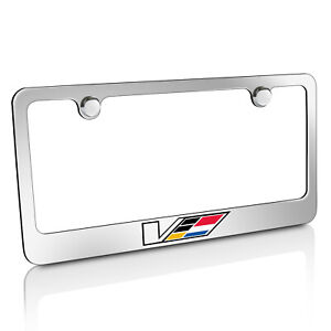 Cadillac V Logo Chrome Brass Metal License Plate Frame For Cts Ats Licensed
