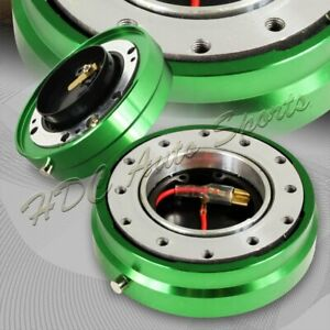 Universal 6 Hole Jdm Steering Wheel Green 1 Thin Quick Release Short Hub Kit
