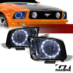 2005 2009 Ford Mustang Smoke Housing Drl Led Halo Ring Headlights Lamps Pair Nb