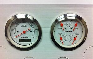 Dolphin 3 3 8 Quad Pro Metric Street Rod Gauge Set Hot Rod Universa