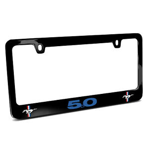 Ford Mustang Gt 5 0 In Blue Dual Logos Black Metal License Plate Frame