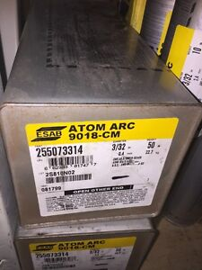 New Esab Atom Arc 9018 cm Welding Electrodes 3 32 50 lb Box 255073314
