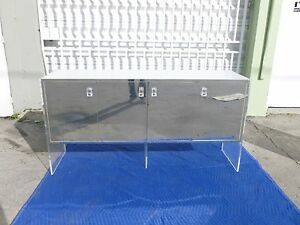 70 S Lucite Slab Sided Buffet With Mirrored Doors And Laminate Top P