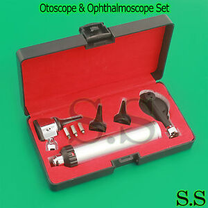 Professional Otoscope Ophthalmoscope Set Ent Medical Diagnostic 3 Led Bulbs