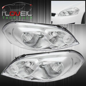 2006 2013 Chevy Impala Monte Carlo Chrome Head Lamps Clear Reflector Pair Lh Rh
