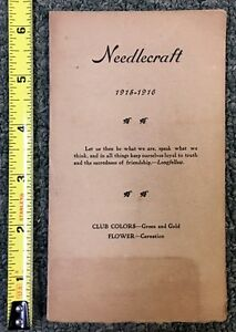 1915 16 Needle Craft Club Booklet Must See Nice Cond