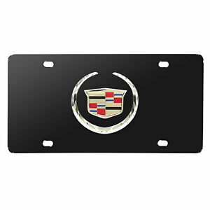 Cadillac 3d Logo Black Stainless Steel License Plate Made In Usa Warranty