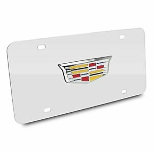 Cadillac Crest 3d New Logo Chrome Stainless Steel License Plate Made In Usa