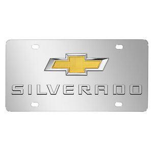 Chevrolet Silverado Double 3d Logo Chrome Stainless Steel License Plate