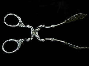 Antique German 800 Fine Silver Pierced Tongs Flower Design