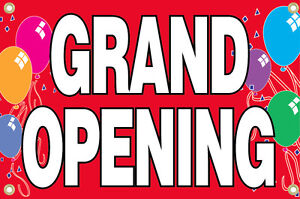 18x36 Inch Grand Opening Vinyl Banner Balloons Sign red