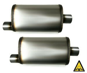 Two Performance Universal Stainless Steel 3 Mufflers Center Offset 3 O C