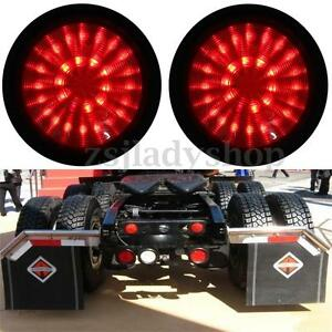2x 12v Red Led Round Rear Lamp Tail Stop Brake Light Trailer Truck Lorry Caravan
