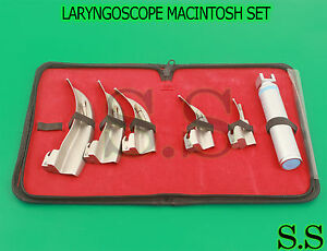 Laryngoscope Macintosh Intubation Set Of 5 Blades And One Handle Emt Anesthesia