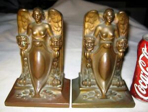 Antique Usa Jennings Brothers Theatre Comedy Tragedy Art Statue Bookends Bronze