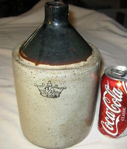 Antique Primitive Country Usa Akron Crown Art Stoneware Whisky Bottle Jug Crock