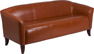 Cognac Bonded Sofa Leather Reception Seating Reception Furniture Office