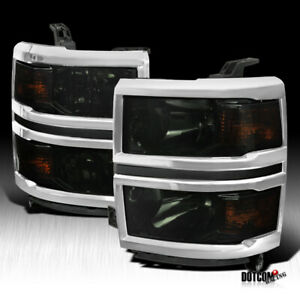 For 2014 2015 Chevy Silverado 1500 Assembly Smoked Headlights Head Lamps Pair