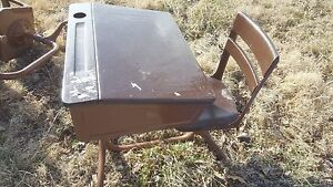 Antique Vintage Childs School Desk With Chair Unusual With Inkwell So Cool