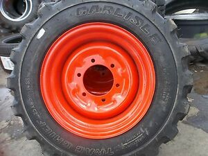 Two 25 8 50x14 Carlisle Loader Skid Steer Rim Guard Tires W wheels