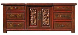 Antiques Chinese Red Lacquer Carving Kid Graphic Low Console Cabinet Vs144