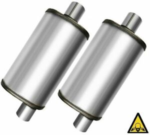 Two Universal Stainless Steel Perforated Performance Mufflers 2 25