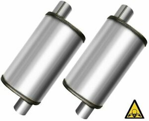 Two Universal Stainless Steel Performance Muffler 2 Offset Offset