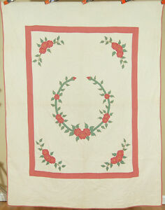 Well Quilted Vintage 30 S Dogwood Applique Antique Quilt Nice Hand Embroidery