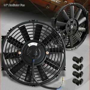 1x 14 Black Electric Slim Push Pull Engine Bay Cooling Radiator Fan Universal 1