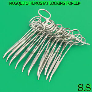 25 Pcs Mosquito Hemostat Locking Micro Forceps Curved Fine Point 5 Serrated