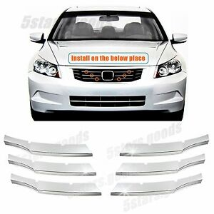 Accessories Chrome Front Center Grille Molding Trims For 2008 2010 Honda Accord