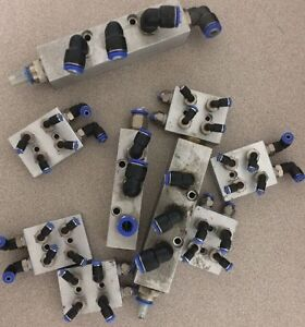 Pneumatic Elbows Fitting And Aluminum Air Manifolds All 9 Itemfor 1 Lot 1 Price