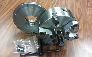8 6 jaw Self centering Lathe Chuck W Top bottom Jaws L0 Adapter Back Plate