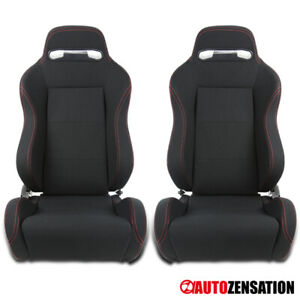 Pair Of Reclinable Sporty Racing Seats Black Red Stitch W Slider