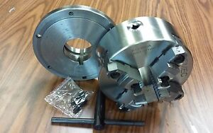 8 4 jaw Self centering Lathe Chuck Top bottom Jaws W L0 Adapter Plate new