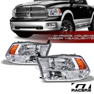 Quad Lamps For 2009 2018 Dodge Ram Factory Style Chrome Headlights Amber Pair Nb
