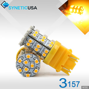 2x 3157 3457 High Power 195lm 45 Smd Led Amber Yellow Turn Signal Light Bulbs