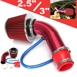 Red 3 Universal Car Cold Air Intake Turbo Filter Induction Flow Pipe Hose Us