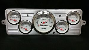 1939 Chevy Car 5 Gauge Dash Panel Cluster Set 39 White