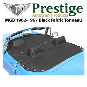 Mgb Tonneau Cover Black Fabric Canvas With Headrest Pockets 1962 1967